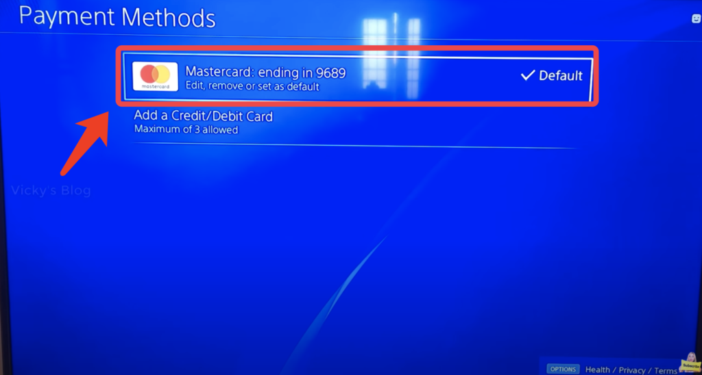 remove credit card from PS4